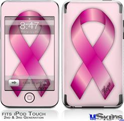 iPod Touch 2G & 3G Skin - Hope Breast Cancer Pink Ribbon on Pink
