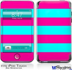 iPod Touch 2G & 3G Skin - Psycho Stripes Neon Teal and Hot Pink