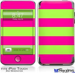 iPod Touch 2G & 3G Skin - Psycho Stripes Neon Green and Hot Pink