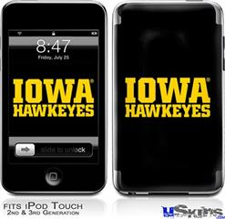 iPod Touch 2G & 3G Skin - Iowa Hawkeyes 01 Gold on Black