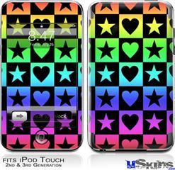 iPod Touch 2G & 3G Skin - Hearts And Stars Rainbow