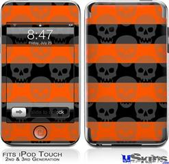 iPod Touch 2G & 3G Skin - Skull Stripes Orange