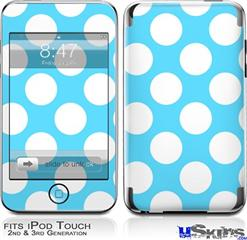 iPod Touch 2G & 3G Skin - Kearas Polka Dots White And Blue