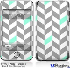 iPod Touch 2G & 3G Skin - Chevrons Gray And Seafoam