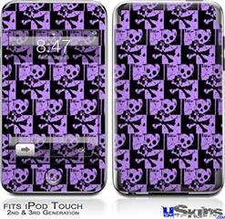 iPod Touch 2G & 3G Skin - Skull Checker Purple