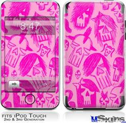 iPod Touch 2G & 3G Skin - Skull Sketches Pink