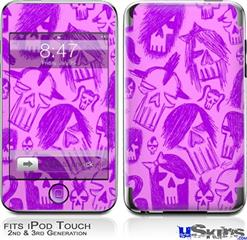 iPod Touch 2G & 3G Skin - Skull Sketches Purple