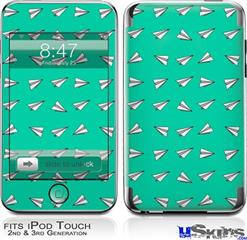 iPod Touch 2G & 3G Skin - Paper Planes Turquoise