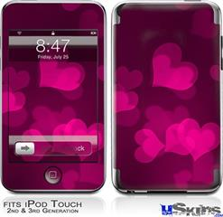 iPod Touch 2G & 3G Skin - Bokeh Hearts Hot Pink