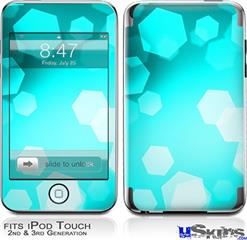 iPod Touch 2G & 3G Skin - Bokeh Hex Neon Teal