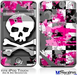 iPod Touch 2G & 3G Skin - Girly Pink Bow Skull