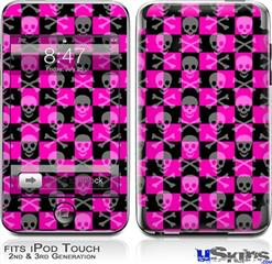 iPod Touch 2G & 3G Skin - Skull Crossbones Checkerboard