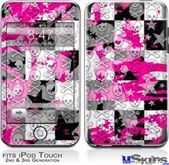iPod Touch 2G & 3G Skin - Checker Skull Splatter