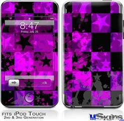 iPod Touch 2G & 3G Skin - Purple Star Checkerboard