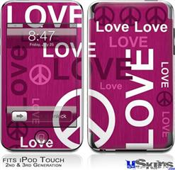iPod Touch 2G & 3G Skin - Love and Peace Hot Pink