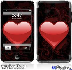 iPod Touch 2G & 3G Skin - Glass Heart Grunge Red